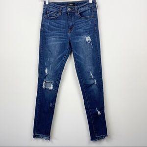 VERVET FLYING MONKEY Ankle Skinny Fit Dark Wash Distressed Skinny Jeans Size 27